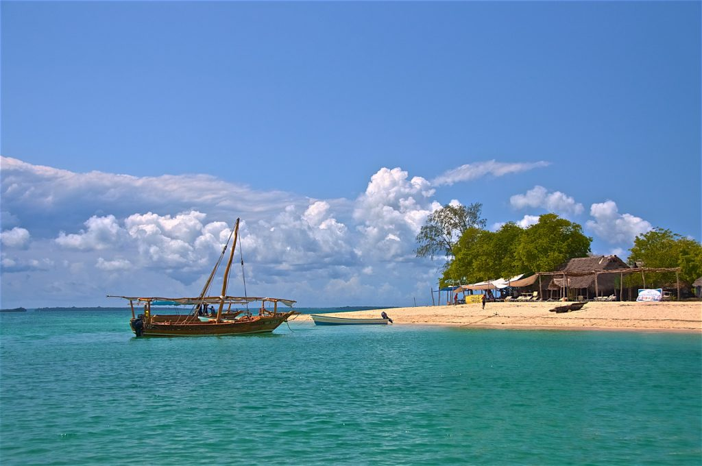 zanzibar beach and dhow