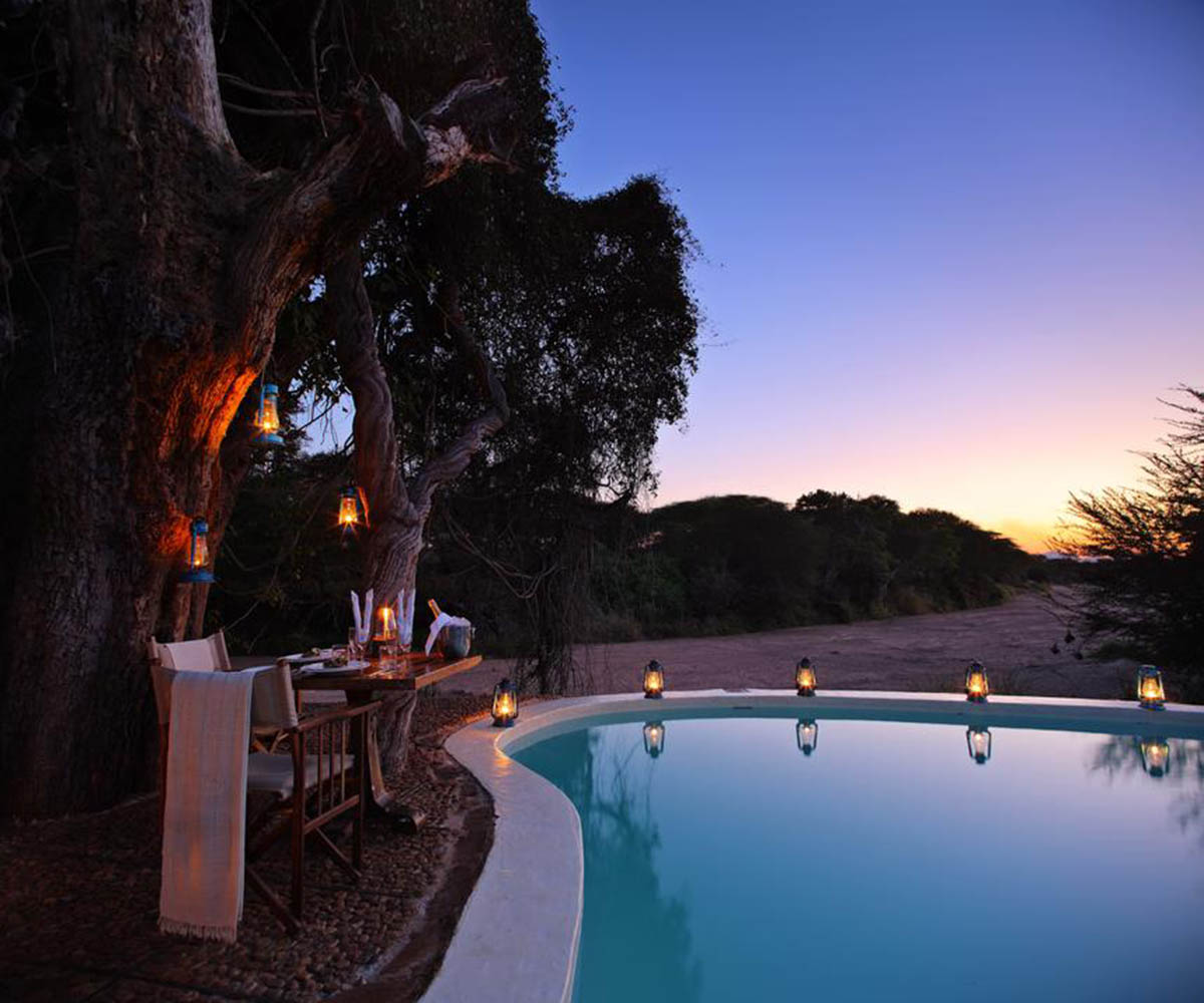 Swimming pool at permanent safari lodge