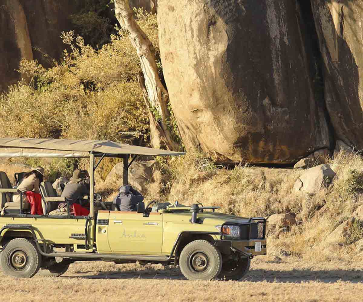 Game drive in Africa, open side vehicle
